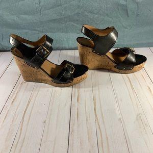 Xhiliration Black Buckle Wedge Sandal. Size 8